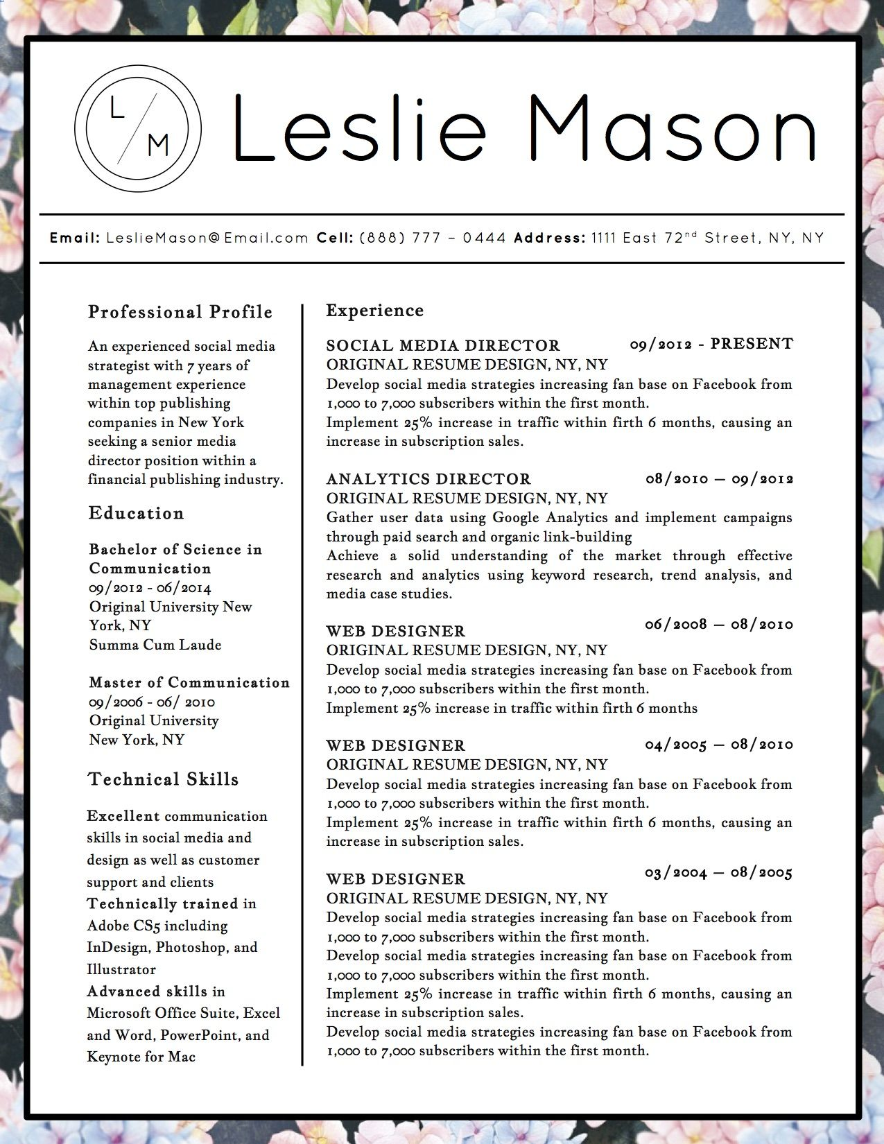 Beautiful resume template for Microsoft Word with 3 distinct ...