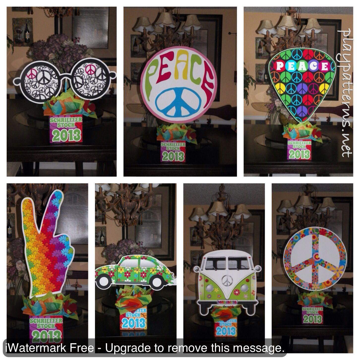 70s Theme Party Decorations Ideas Part - 49: 70u0027s Peace Disco Retro Woodstock Birthday Party Centerpieces.