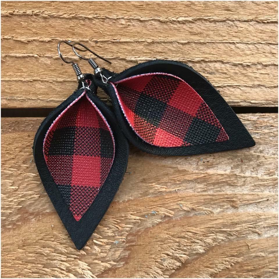 Floral Stripe Leather Alternative Teardrops 10 Pieces Leather Earring Cutouts Buffalo Check Teardrops Faux Leather