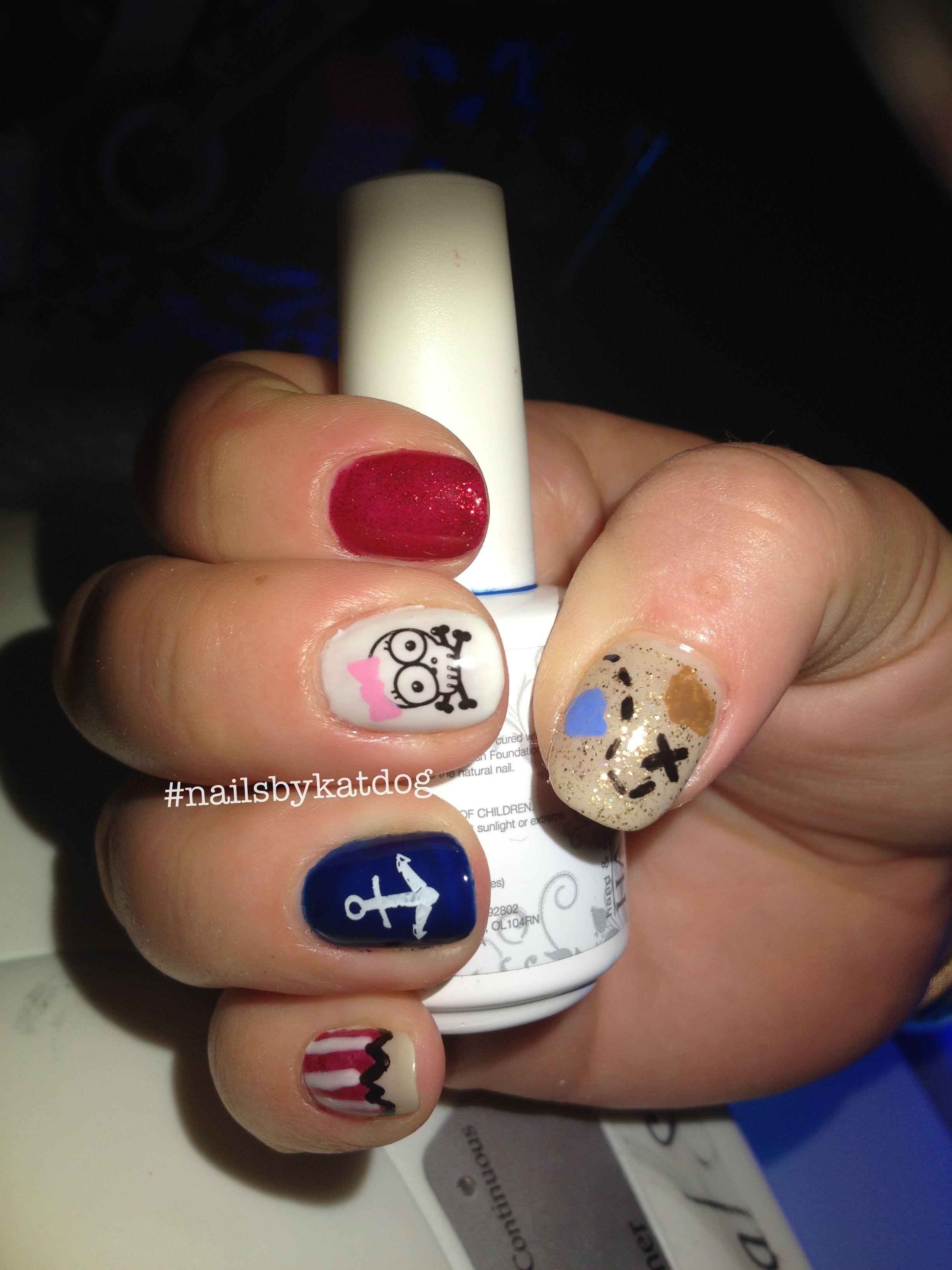 Pirate nails  #nails #nailart #gelish #gelishart #konad #gelishnailart #nailsbykatdog