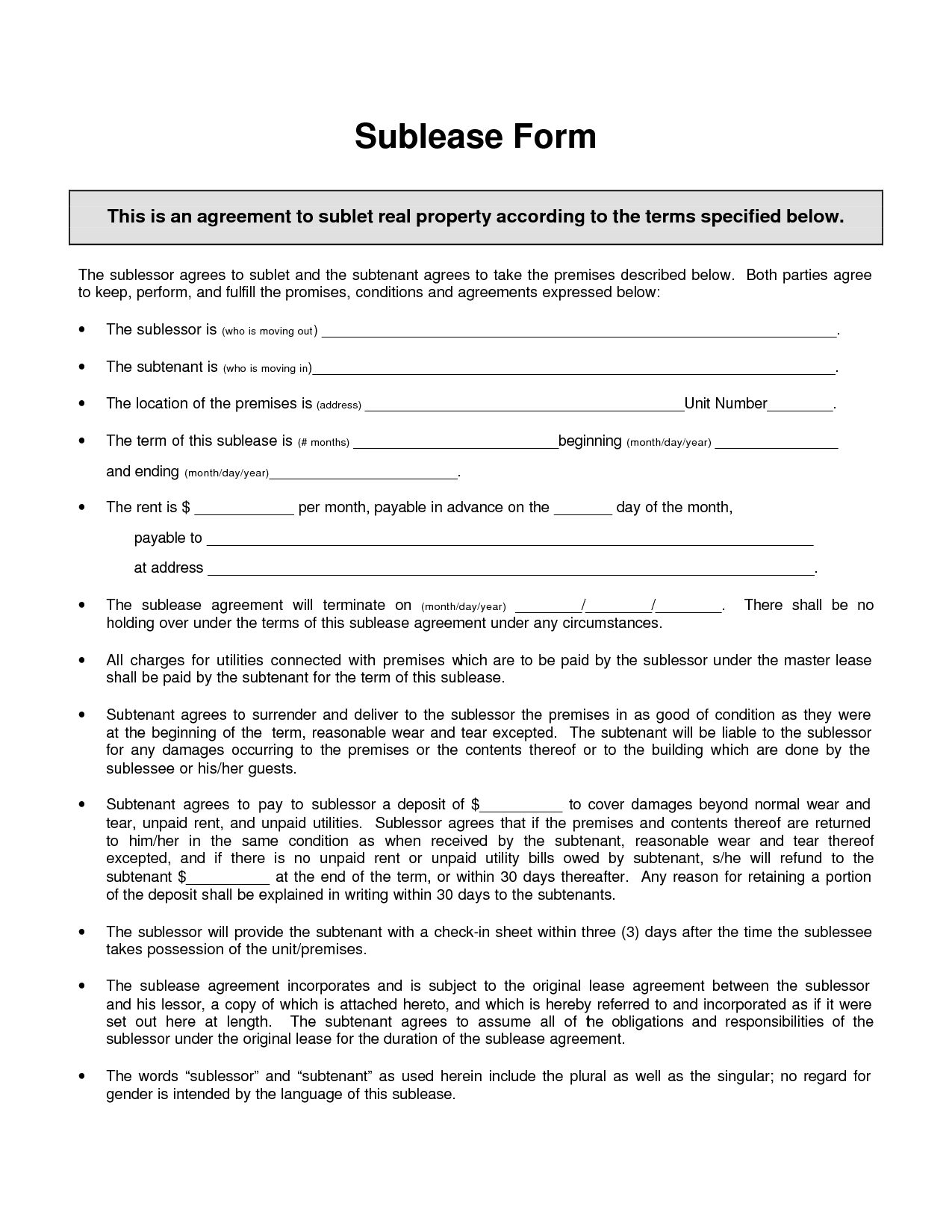 Sublease Agreement Template Invitation Templates sublet – Sublet Contract Template