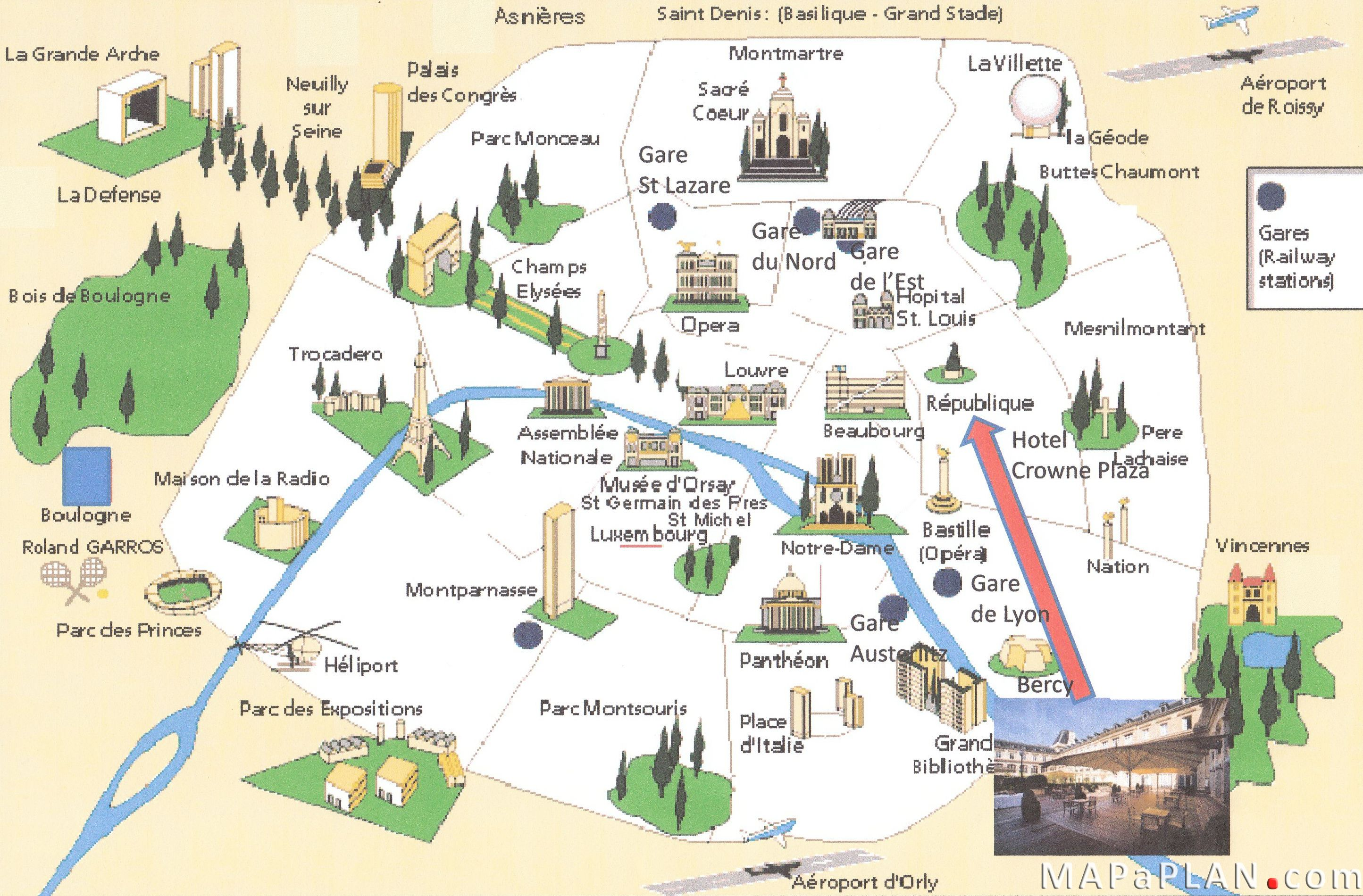 Paris top tourist attractions map Landmarks aerial birds eye ...