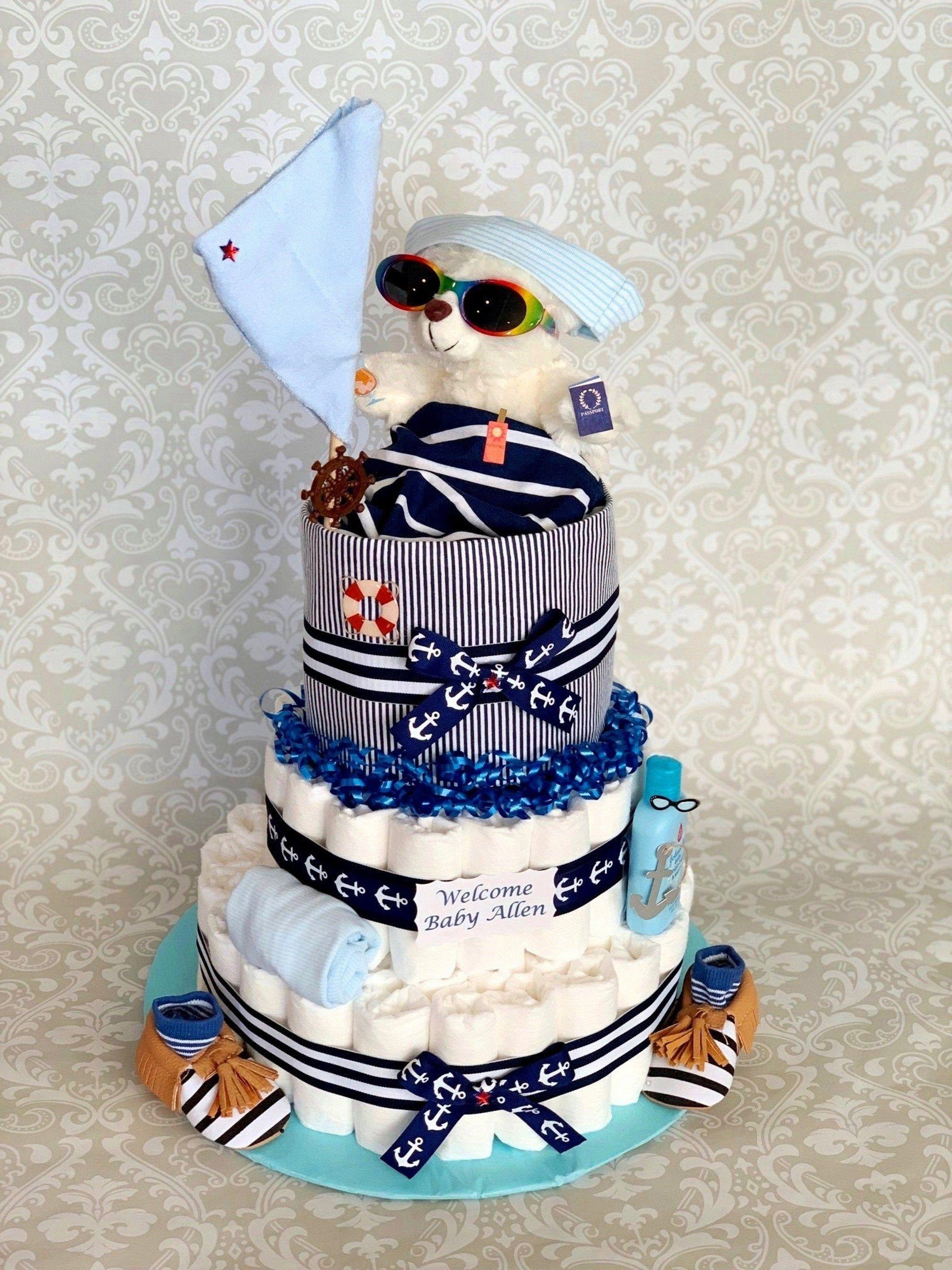 Baby boy 3 tier nautical diaper cake an adorable diaper