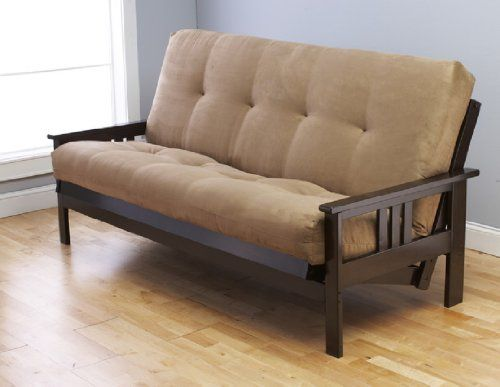 Montreal Espresso Futon Frame W Quality 8 Innerspring Mattress Sofa Bed Set Beige