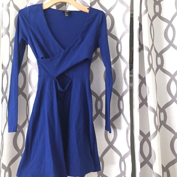 Blue long sleeve sexy front dress Worn only once. Vneck cut with mid slit Forever 21 Dresses Long Sleeve
