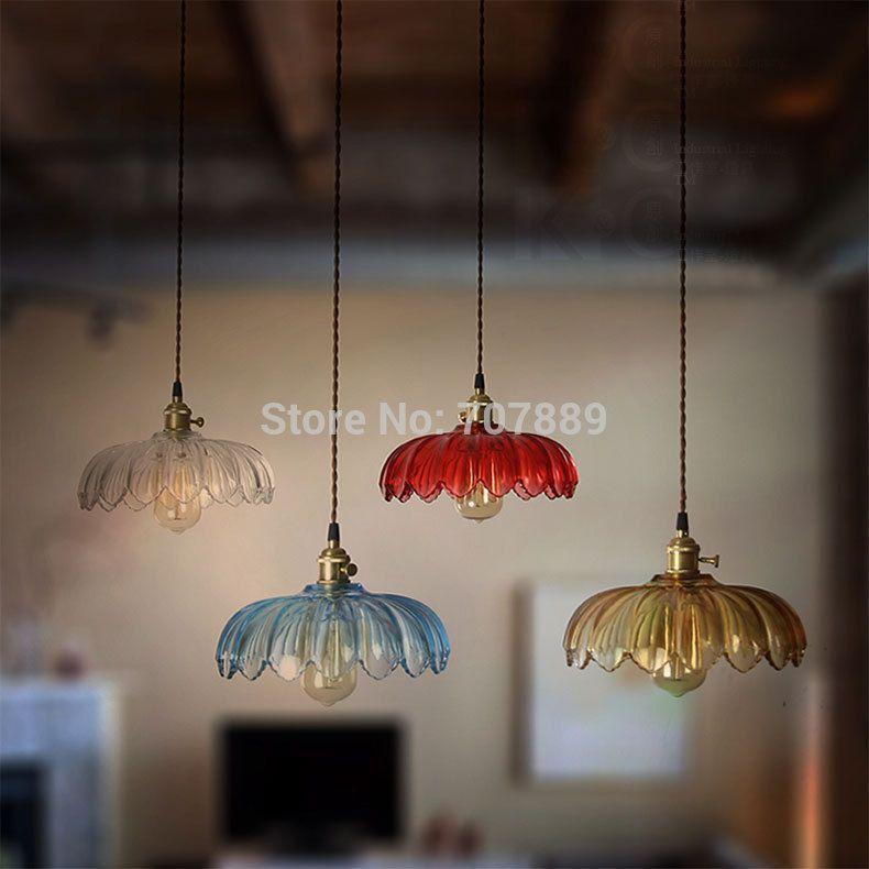 Retro Glass Lampshade Pendant Lights Vintage Lotus Hanging ...