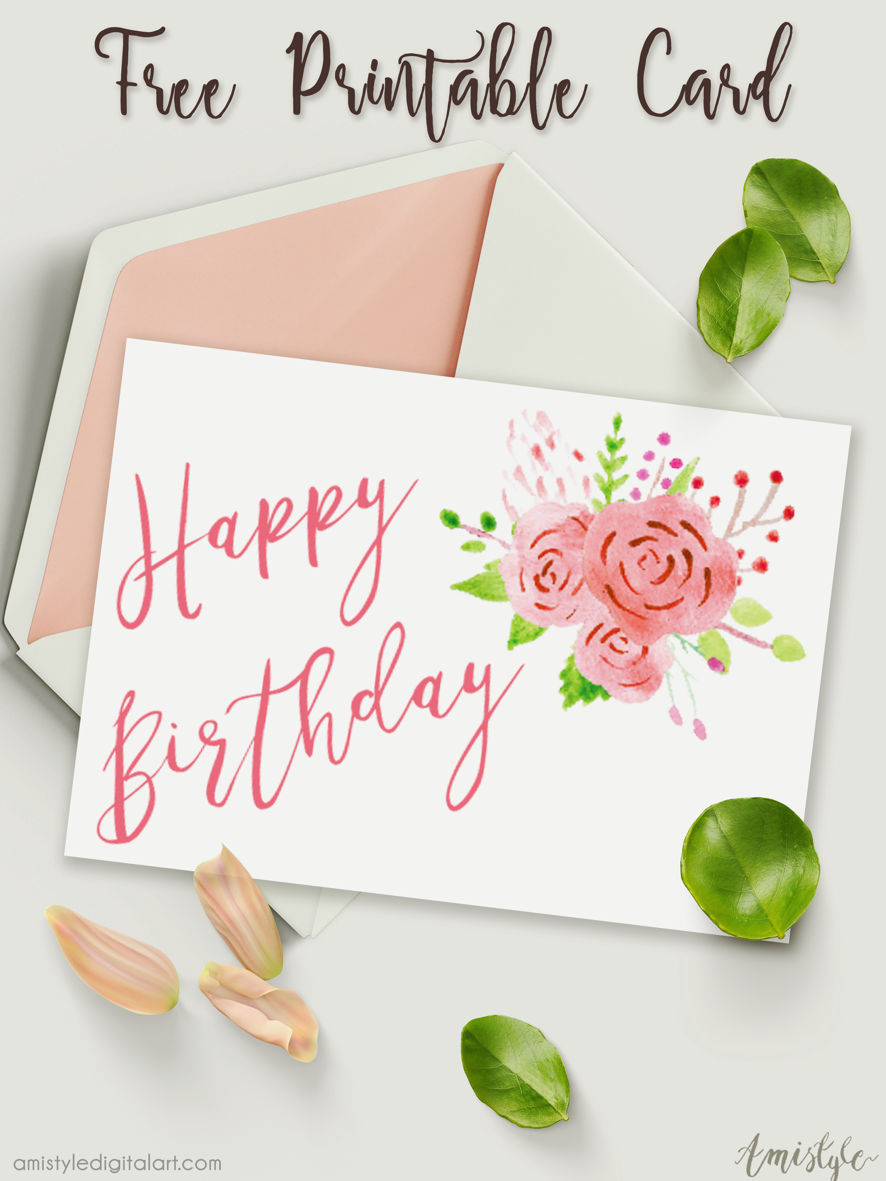 Free Printable Birthday Card with watercolor floral design ...