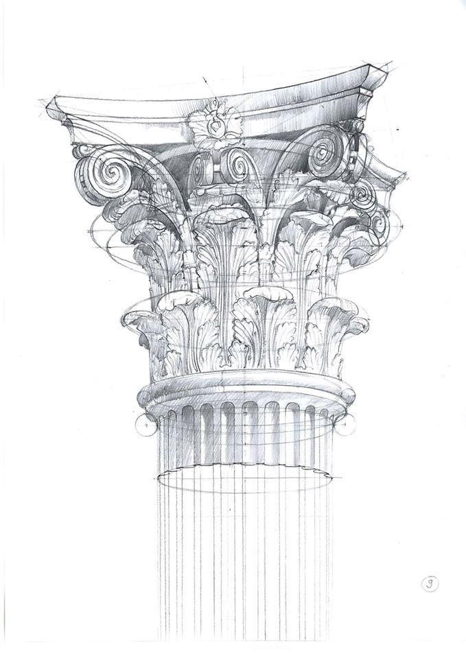 Michal Suffczynski Corinthian order, pencil&watercolor