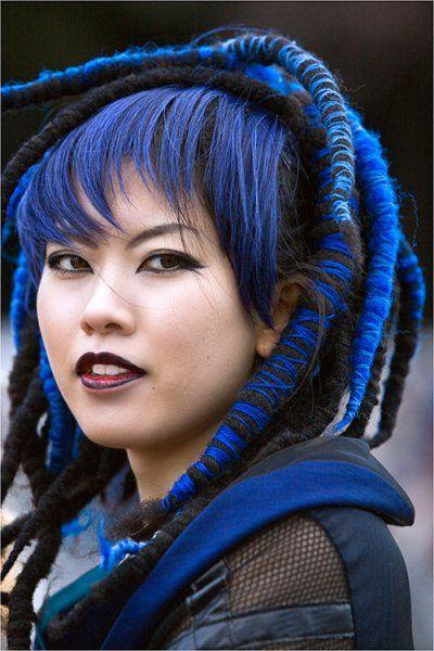 Cute Blue Haired Japanese Girl Japanese Fashion Dyed Hair Blue