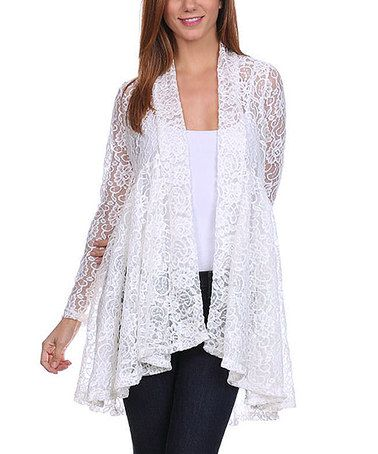 7ab2aaa52c Look what I found on  zulily! White Lace Open Cardigan  zulilyfinds. Another  great find ...