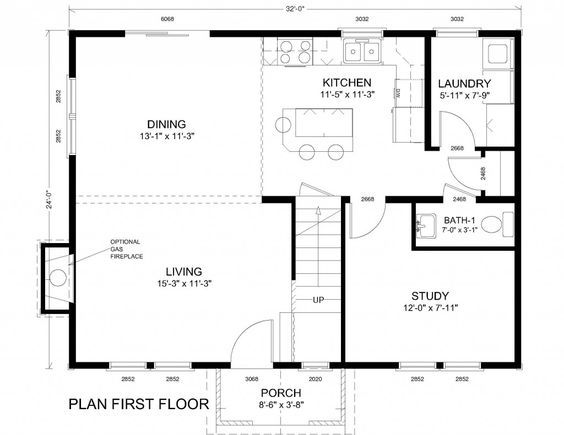 24 X 32 Open Floor Plan With 1 Bedroom Google Search Colonial House Plans Basement House Plans Farmhouse Floor Plans