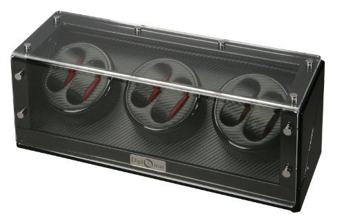 Diplomat 31-477  Black Wood Finish Six Watch Winder with Black Carbon Fiber Interior and Japanese Mabuchi Motor  Watch Winder - http://www.specialdaysgift.com/diplomat-31-477-black-wood-finish-six-watch-winder-with-black-carbon-fiber-interior-and-japanese-mabuchi-motor-watch-winder/