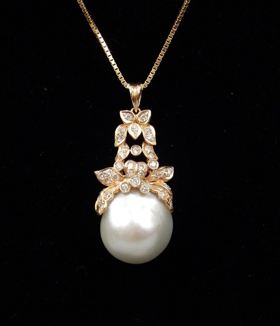 South sea pearl gold and diamond necklace k hand chased gold