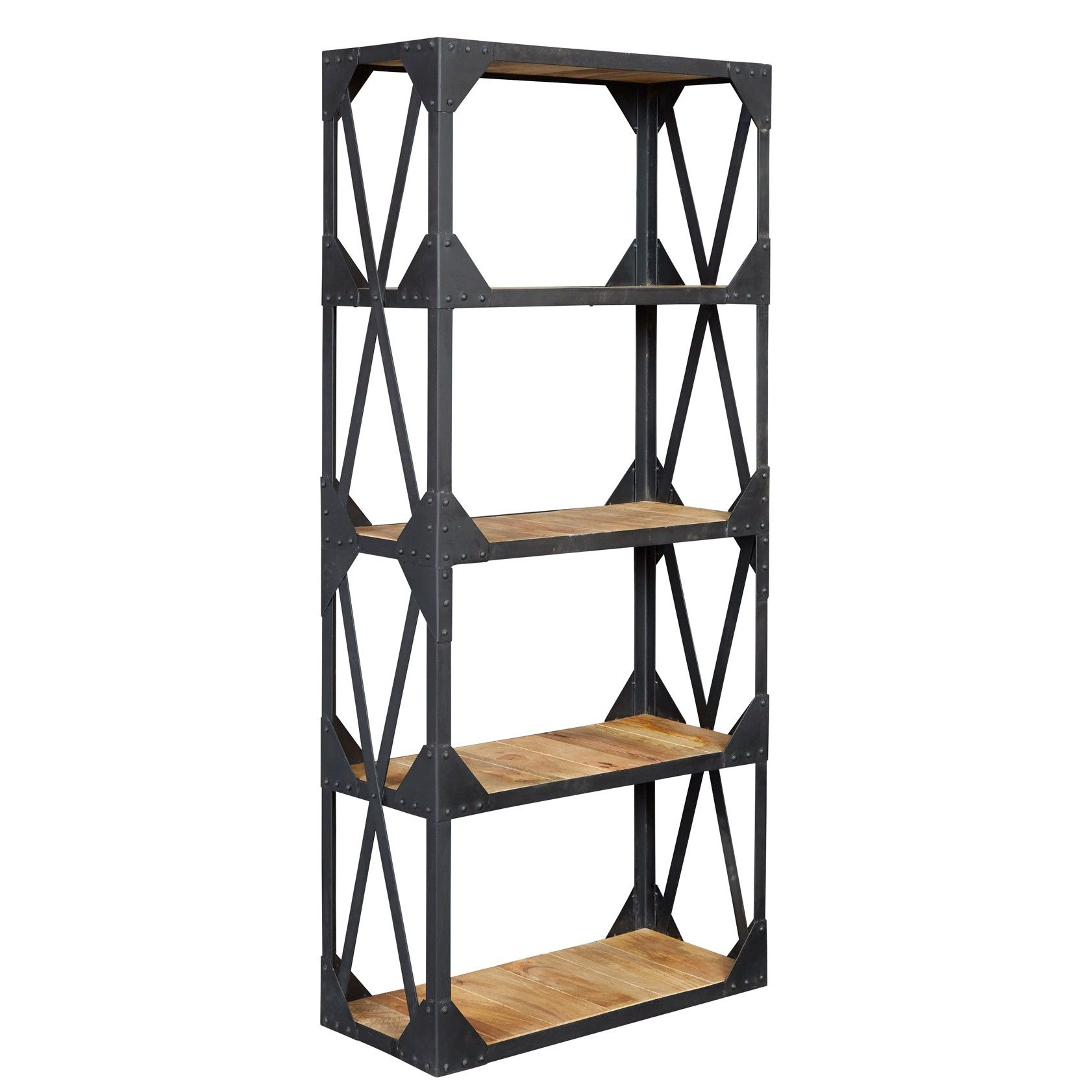 Accessories Furniture Impressive Multilevel Metal And Wood Bookcase With Natural Wood Shelf Cool A Vintage Industrial Furniture Large Bookcase Metal Bookcase