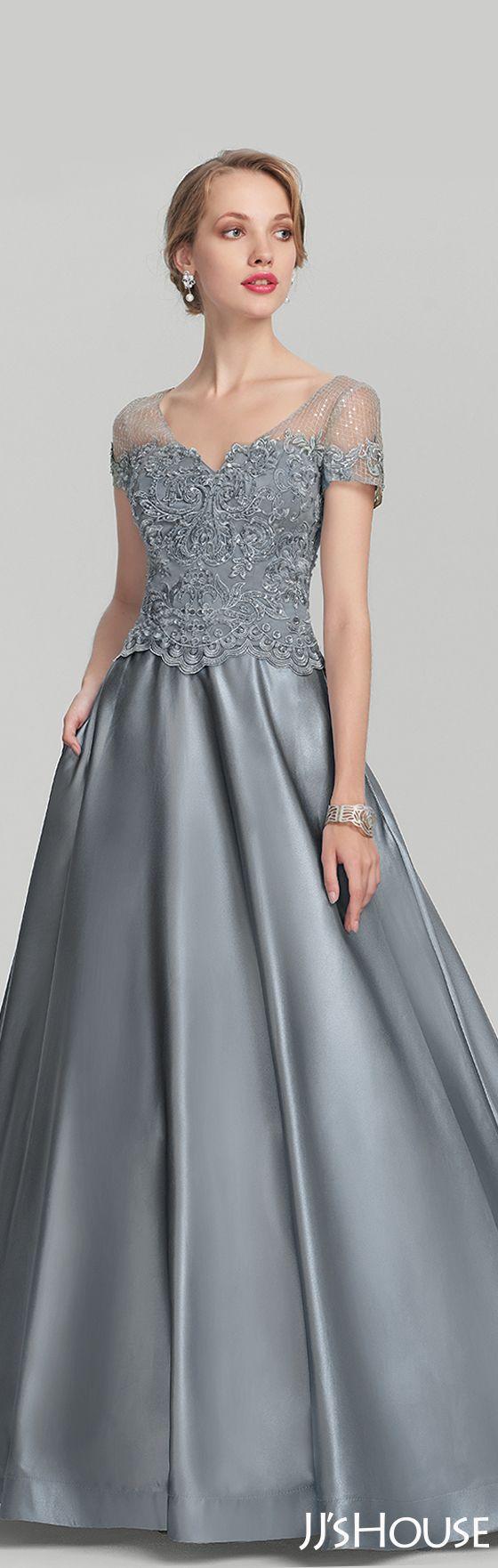 A-Line/Princess V-neck Floor-Length Satin Lace Mother of the Bride ...