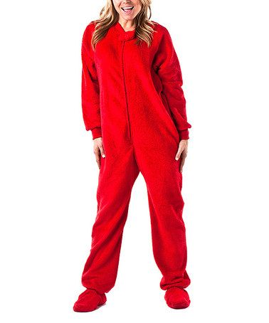 Take a look at this Red Heat Wave Chenille Footie Pajamas - Adults ...