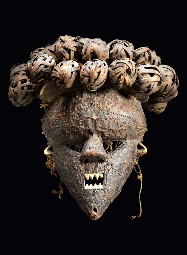 Africa | Mask from the Salampasu people of DR Congo | Wood, metal and raffia