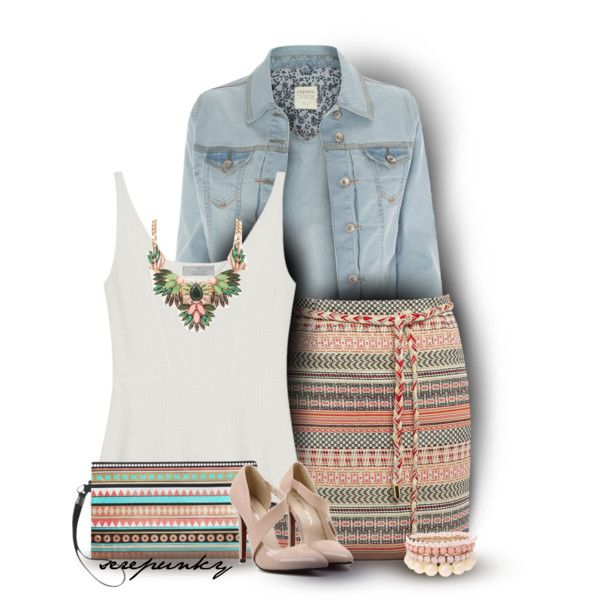 Denim Jacket and Skirt by serepunky on Polyvore featuring moda, Mulberry, Sessùn and Lipsy