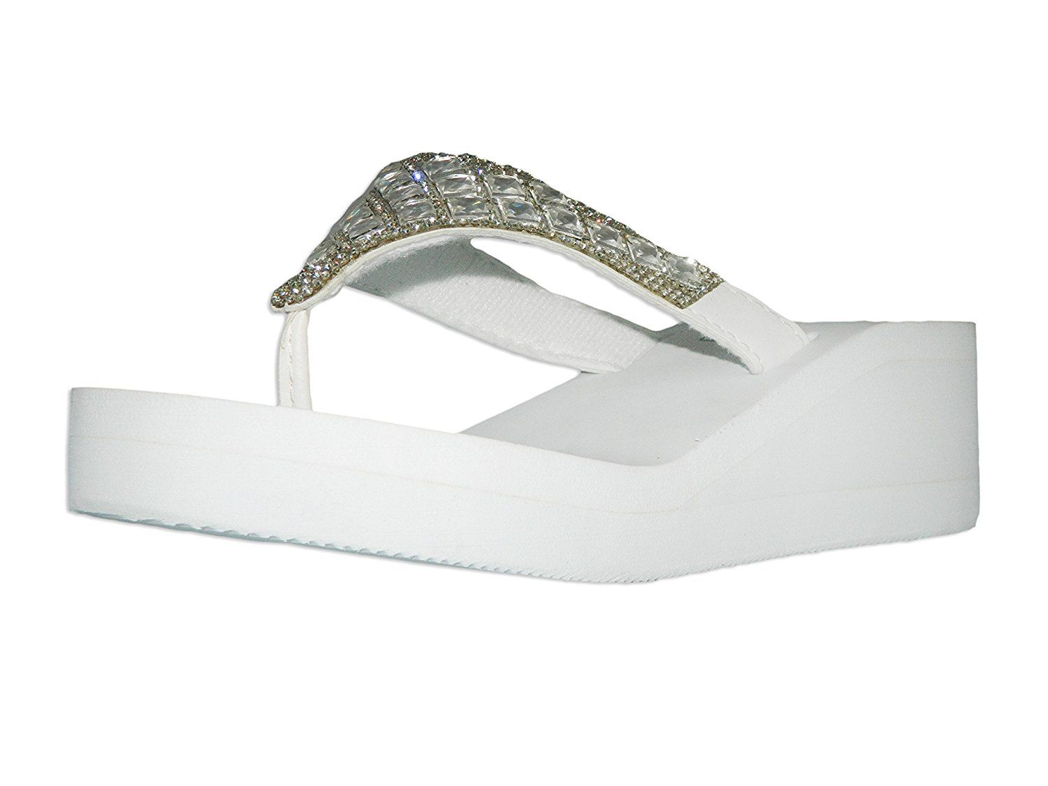 dac572b23d4f VICTORIA ADAMES Gina Womens Shoes White Ladies Wedges Sandals Casual Flip  Flop   Be sure to check out this helpful article.  shoelover