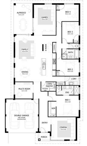 4 Bedroom House Plans Home Designs With Images Narrow House Plans House Plans Australia 4 Bedroom House Plans