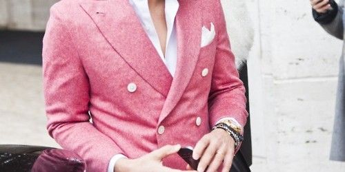 Double-breasted pink suit.