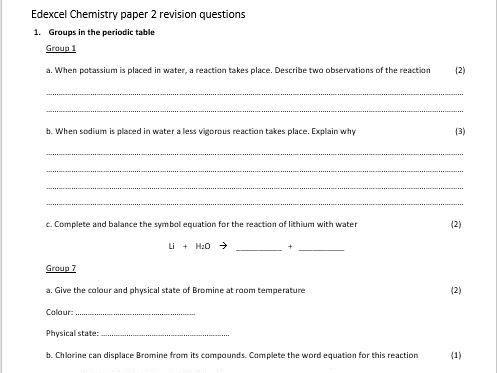Gcse edexcel combined science chemistry paper 2 revision questions gcse edexcel combined science chemistry paper 2 revision questions urtaz Choice Image