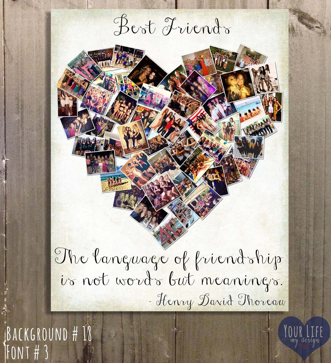 gift for best friends photo collage gift for sister sorority gifts personalized birthday