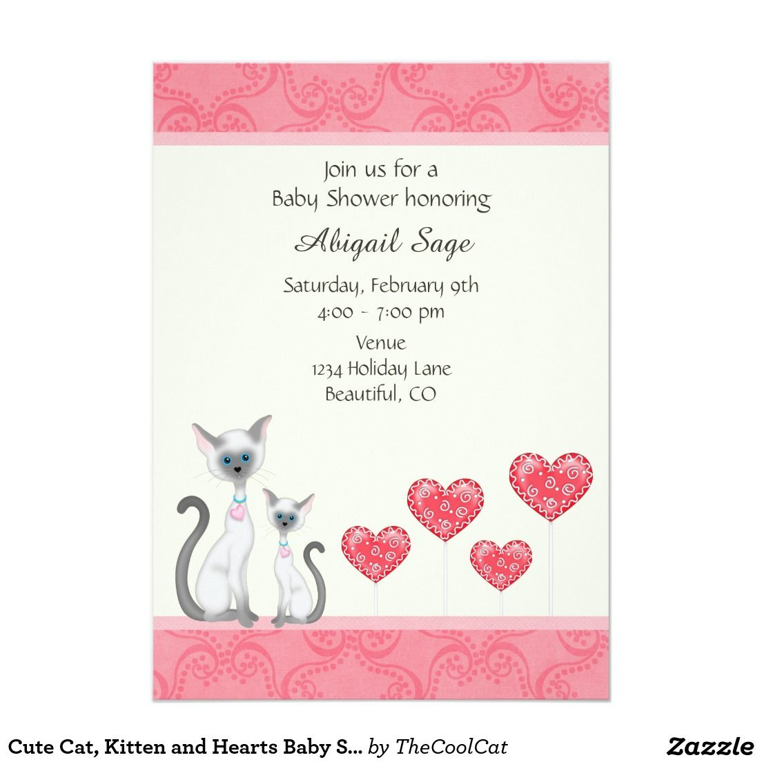Cute Cat Kitten And Hearts Baby Shower Invitation  Baby Shower