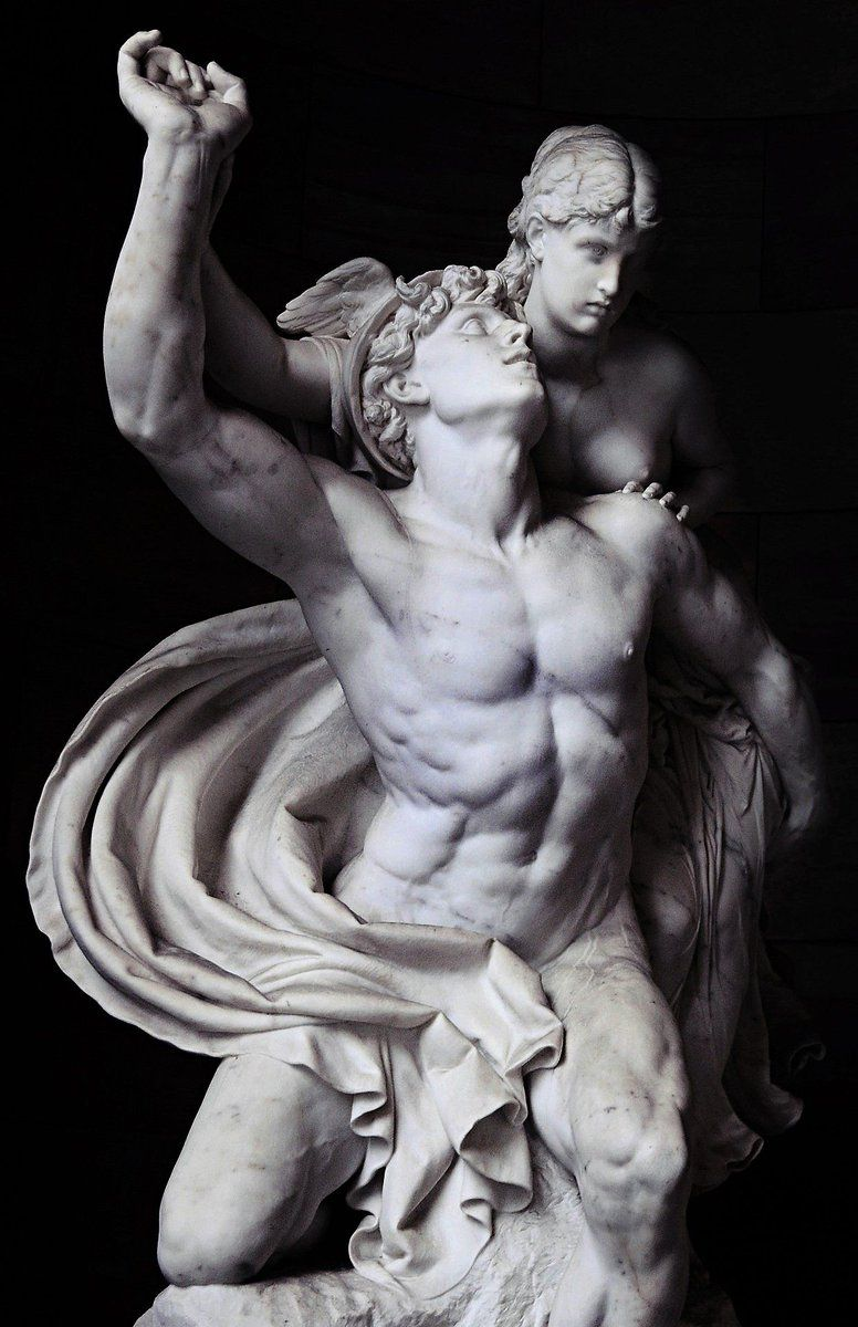 Marble statue in Berlin of the ancient #Greek god, Hermes (Roman: Mercury) and the beautiful Psyche (Reinhold Begas -1878) #greekstatue