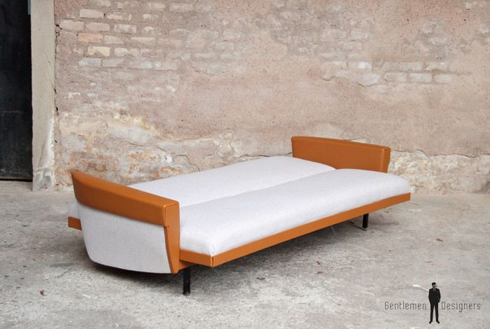 Canap convertible vintage tissu gris chin et simili - Canape cuir made in france ...