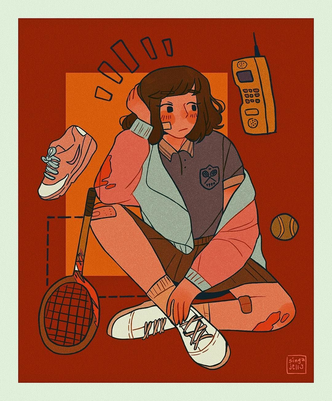 Waiting For Your Friends To Wrap Up For The Night In A 90s Tennis Club Tennisvintage Illustration Vintageaestheti Character Design Art Aesthetic Art