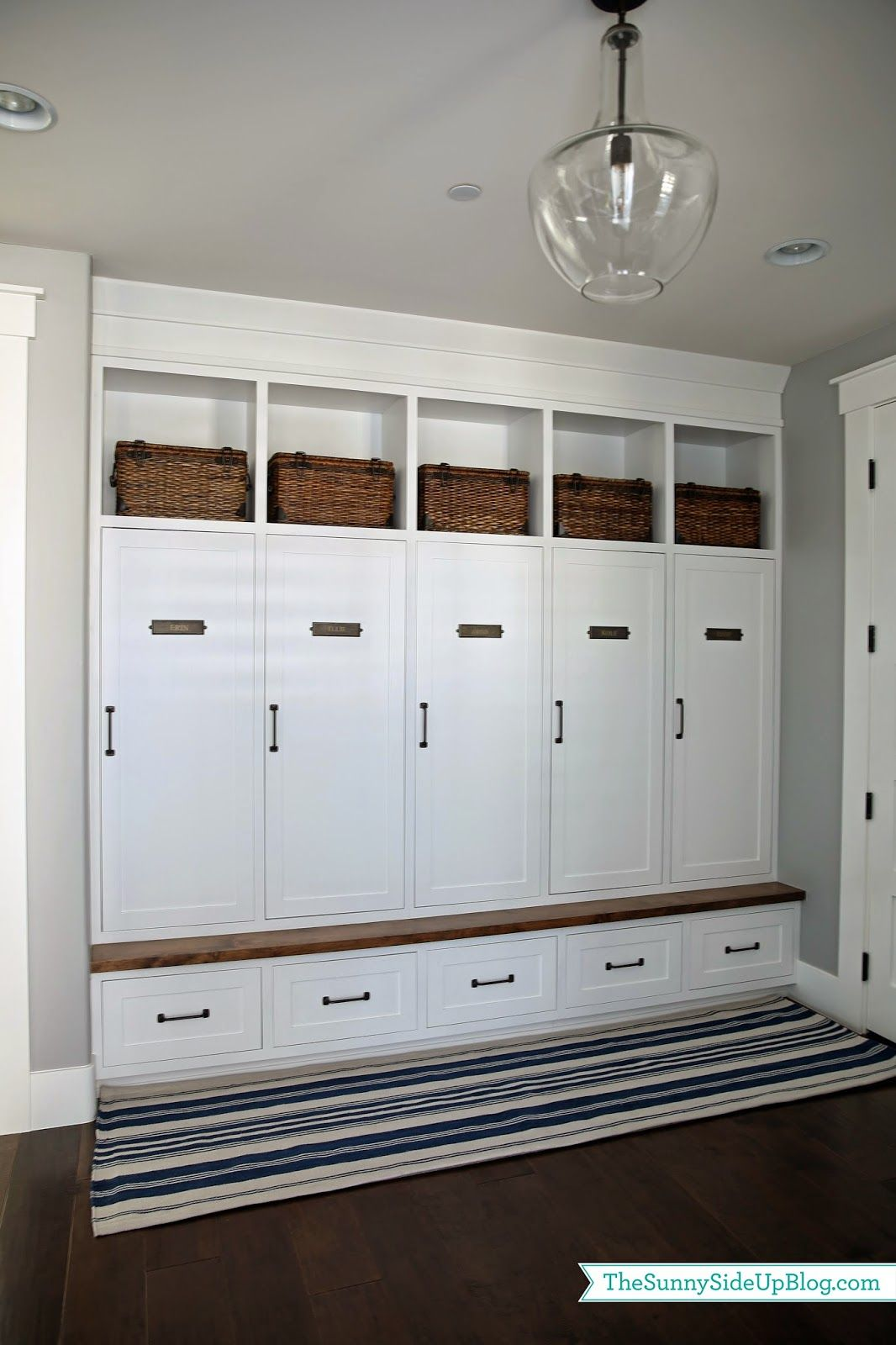 So I Bought A New Rug For Our Mudroom A Navy Nautical Striped Runner From Pottery Barn And I Love The Look Of It Mud Room Storage Mudroom Mudroom Lockers