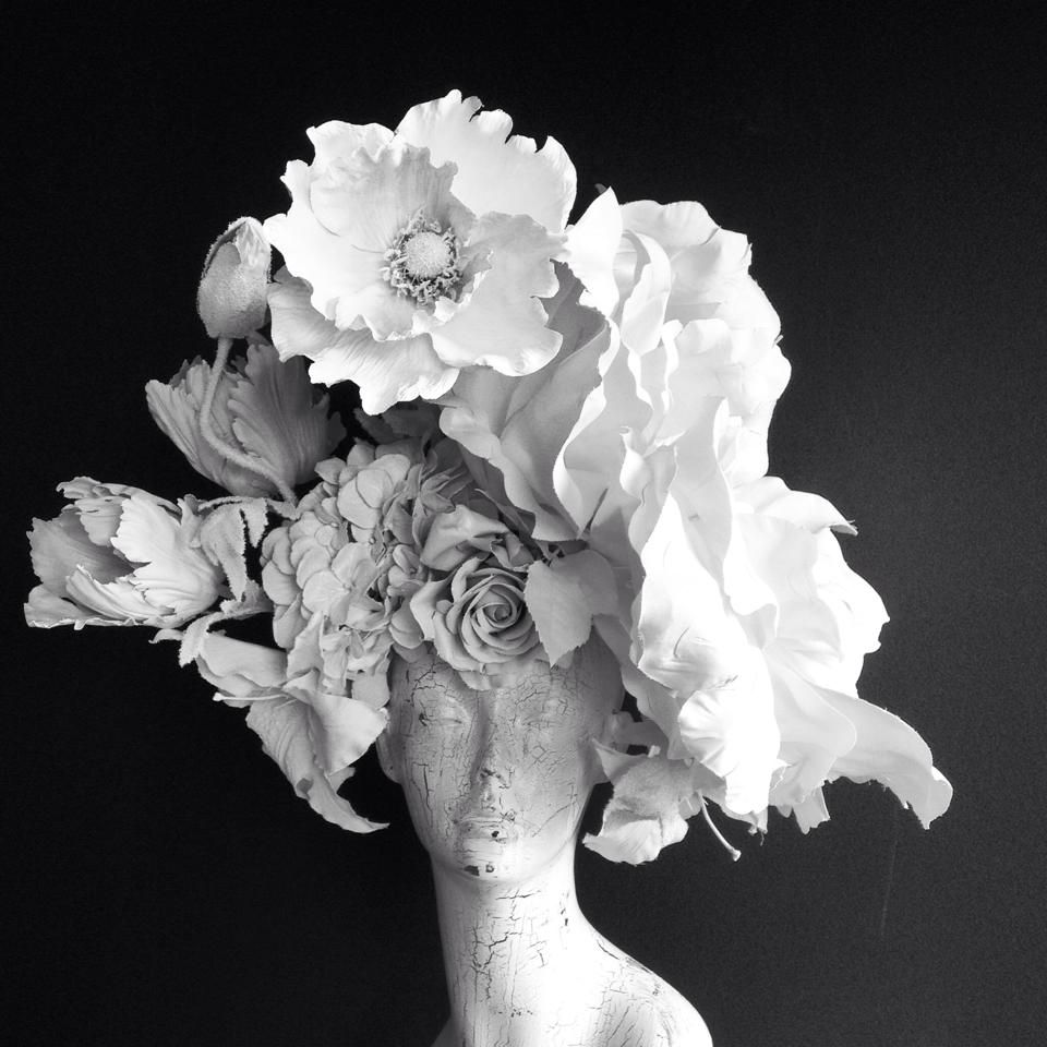 The epitome of FLOWER CROWN... for a bridal editorial I'm working on. by Katie Burley Millinery