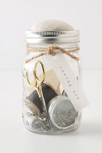 Easy DIY gift-Mason Jar Sewing kit.  Top is pincushion.  Anthropologie has it for $48.  Can be made for MUCH less!!