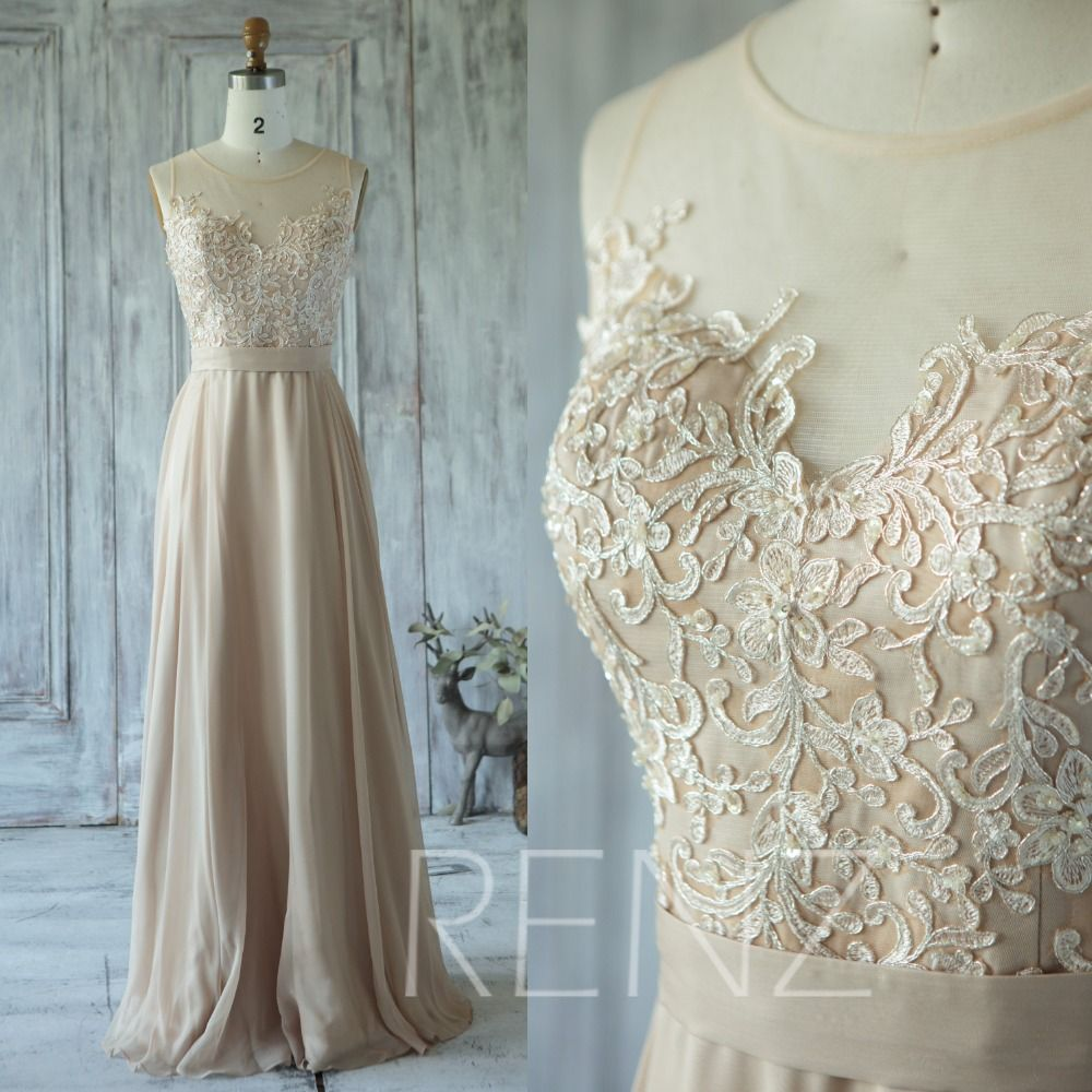 Champagne Chiffon Lace Applique Sleeves Floor Length Formal Evening ...