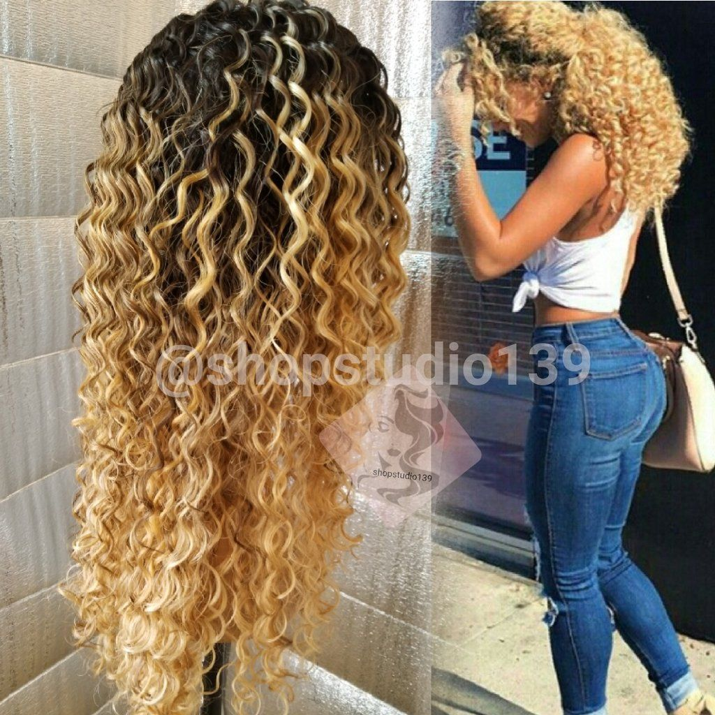 Honey Blonde Ombre Human Hair Blend Lace Front Curly Wig Brown Ombre Hair Color Front Lace Wigs Human Hair Brown Ombre Hair