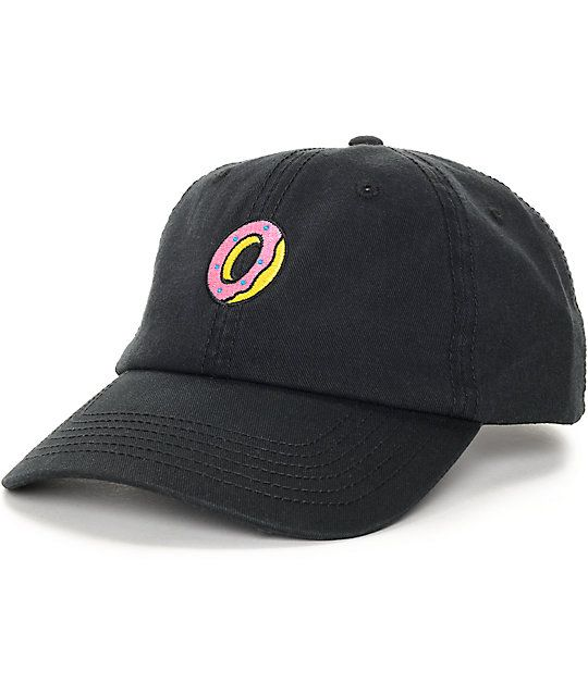 Keep your dad hat fashion in the green with this Embroidered Donut black  polo strapback hat from Odd Future. A simple pink and yellow donut adorns  this ... 48bf2b67752