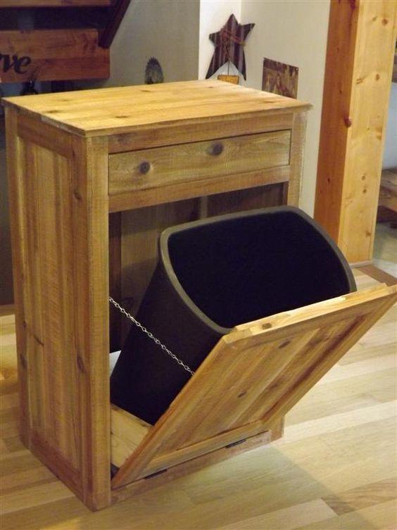 Distressed/ Reclaimed Wood/ Crate/ Tilt out/ Trash/ Bin/ Cabinet ...