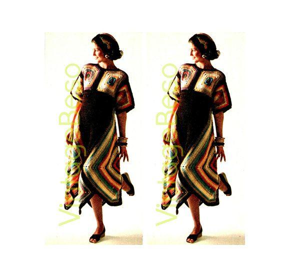 3 CROCHET PATTERNS Instant Download Pdf Hippie Boho Granny Square Dynamite Dress…
