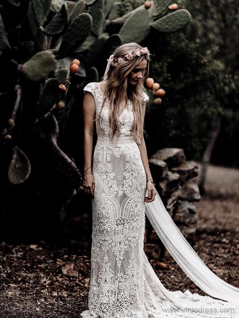 Rustic Lace Wedding Dresses Sheath Beach Boho Wedding Dress Viniodress VW1057