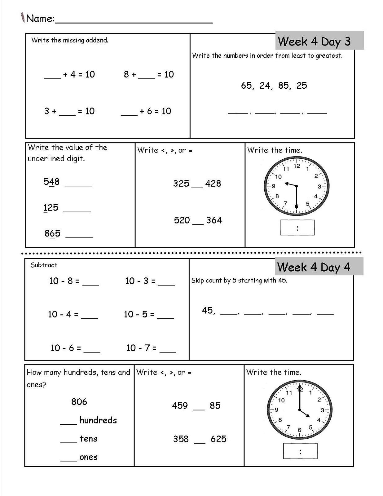 Fun 2nd Grade Math Worksheets Printable