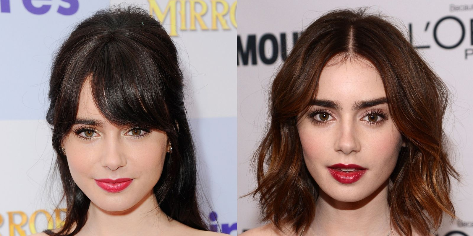 Fringe benefits celebrities with and without bangs lily collins