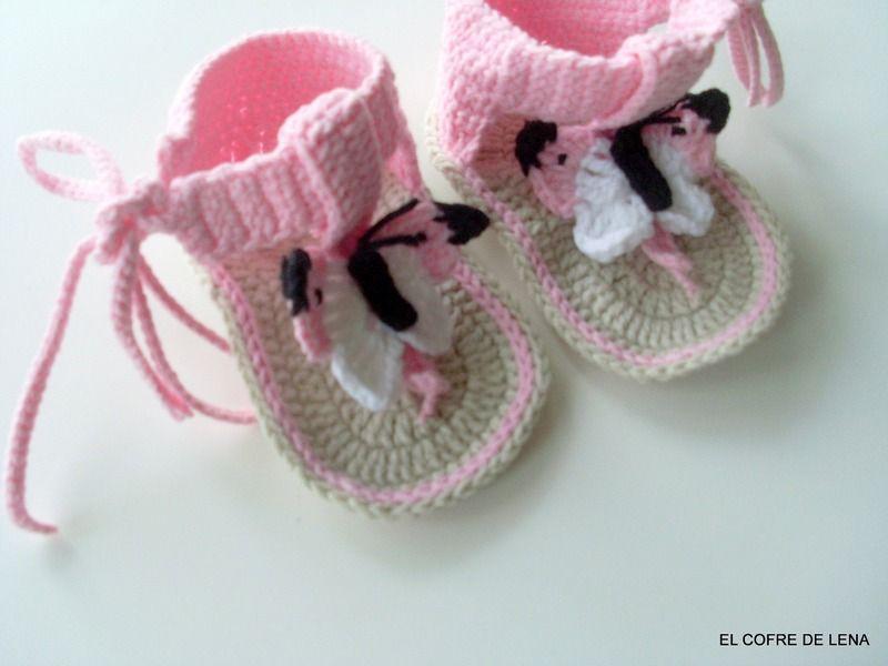 Zapatos de punto/ganchillo - Sandalias Bebé Crochet - hecho a mano por El-Cofre-de-Lena en DaWanda