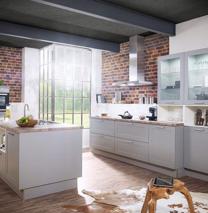 Contemporary Kitchen with Matte Lacquered Gray Cabinets ...