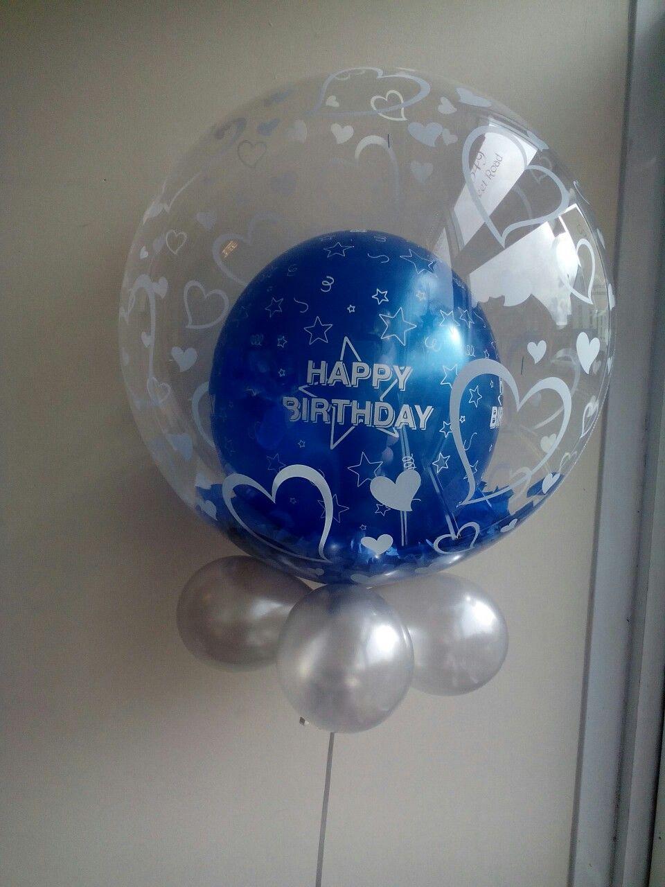 Royal blue confetti latex bubble balloon