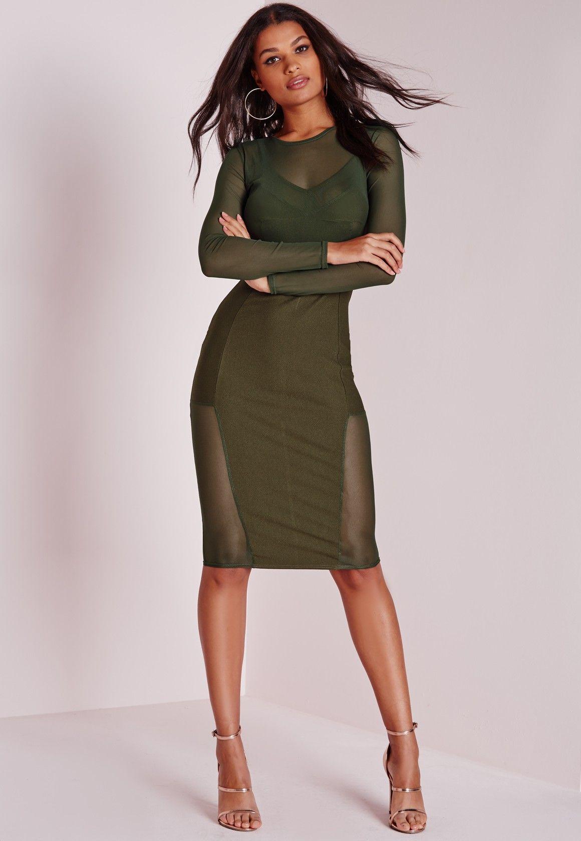 fae6d104c66957 Missguided - Long Sleeve Mesh Midi Dress Khaki