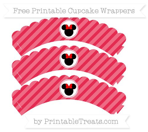 Free Amaranth Pink Diagonal Striped  Minnie Mouse Scalloped Cupcake Wrappers