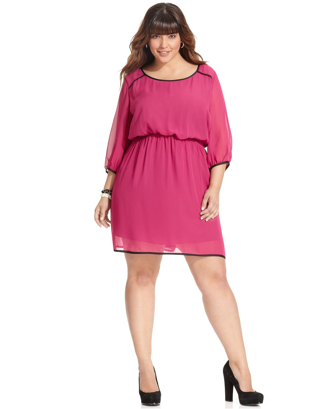 Pink, Trixxi Plus Size Dress, Three-Quarter-Sleeve Blouson Waist ...