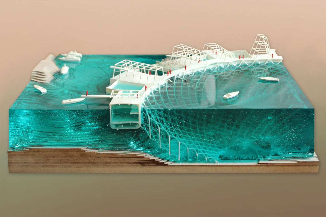 This concept model uses basic shapes to create the foundation of