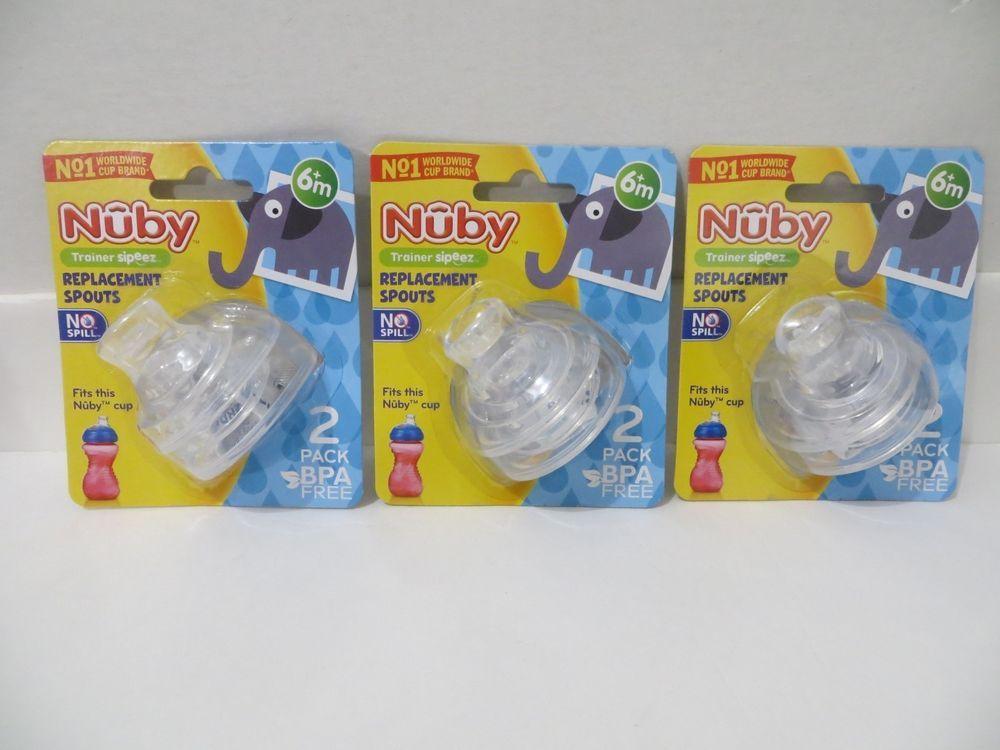 6 Count Super Spout No Spill Replacement Spouts Clear Nuby 3 Packs